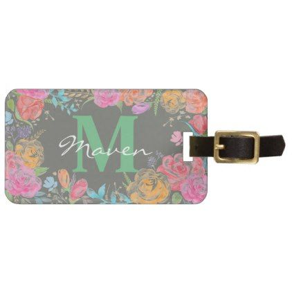Bright Colorful Floral Monogram Luggage Tag - rose style gifts diy customize special roses flowers