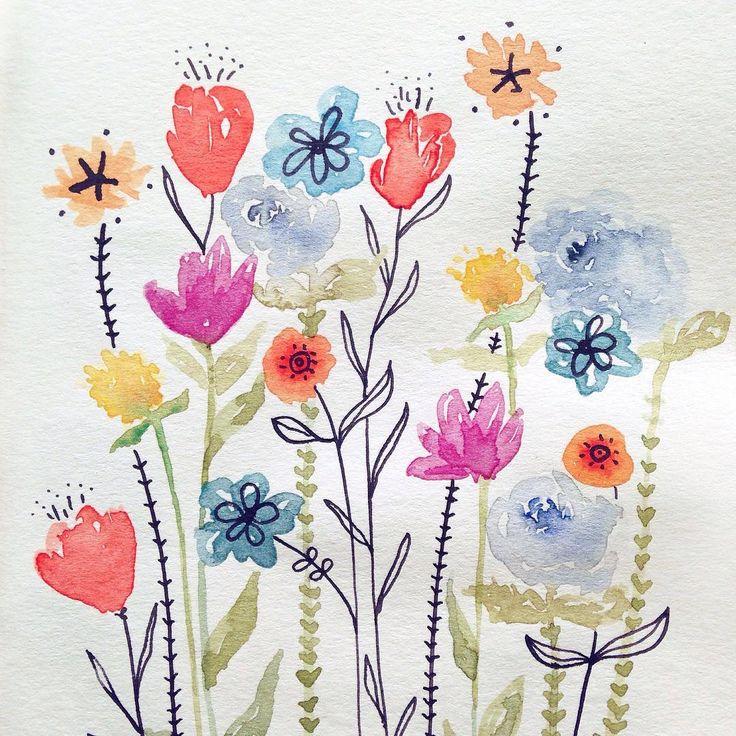 5 minute sketch by Irene Zuccarello ---  #watercolor #flowers #pop #colors #sketch #5minutesketch #drawing  #fiori #disegnoveloce #acquerello #italy #italia #dessin #fleurs #flores #diseño