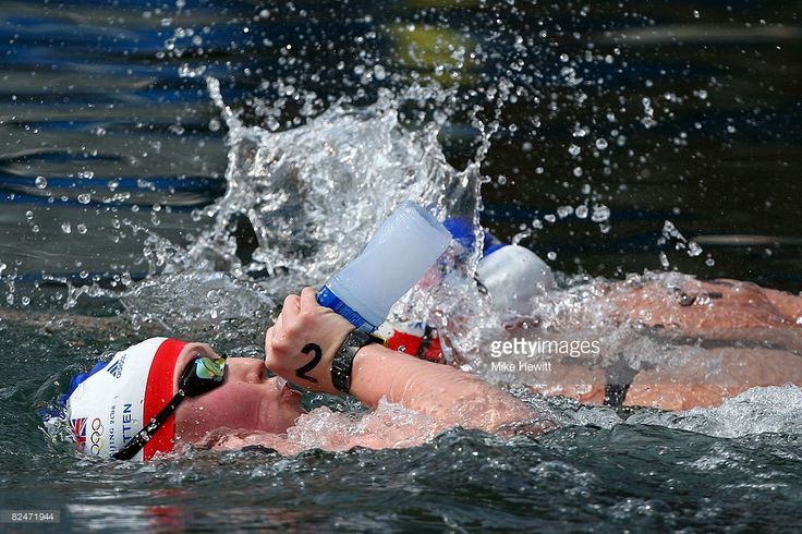 Cassandra Patten of Great Britain takes a drink from her water bottle in the Women's Marathon 10km swimming event at the Shunyi Olympic Rowing-Canoeing Park during Day 12 of the Beijing 2008 Olympic Games on August 20, 2008 in Beijing, China.