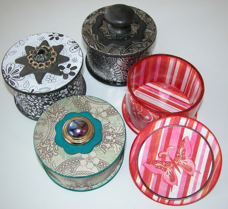 Trinket Boxes Made From Empty Tape Rolls Wooden Coasters