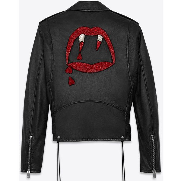 Saint Laurent Blood Luster Motorcycle Jacket ($5,055) ❤ liked on Polyvore featuring men's fashion, men's clothing, men's outerwear, men's jackets, jackets, men, outerwear, tops, mens leather jackets and mens leather motorcycle jacket