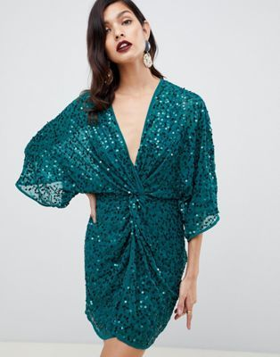 c68ebced27447 DESIGN scatter sequin knot front kimono mini dress | New Years ...