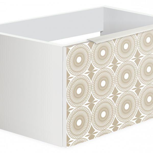 229.23€ Mueble suspendido de 600x350x450 con contenedor de alta calidad, estracción total cierre suave; salvasifón; realizado en laminado de 19 mm acabado blanco seda Serigrafiada (SER-01) brillo y tirador pestaña aluminio blanco