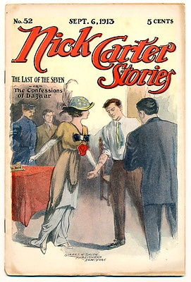NICK CARTER STORIES #52 G, Weekly Dime Novels Pulps Magazines, Aug 6 1913