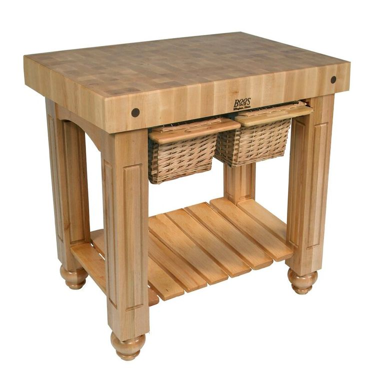 American heritage prep table with butcher block top in
