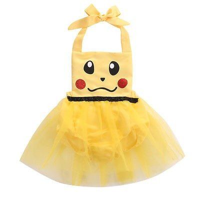 This handmade Pikachu inspired romper will make a wonderful outfit for your little one's Halloween costume, birthday party, dress up, and so much more! We have sewn tulle all the way around the bodice