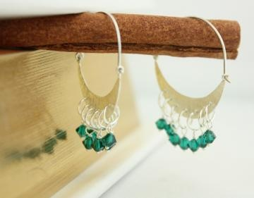 Bollywood Emerald green swarovski crescent moon sterling silver ethnic earrings Rohini