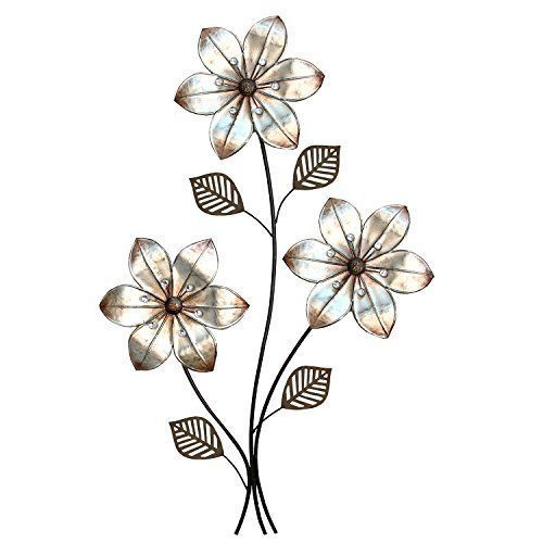 Stratton Home Decor SHD0169 Eclectic 3 Stem floral Wall Decor  Decorate your walls with more than just murals and paintings, consider metal flower wall art.  In addition to being beautiful floral wall art gvies a room a soft vibe