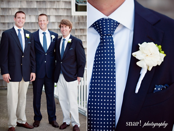 Groomsmen in sport coats and khakis, groom in a suit