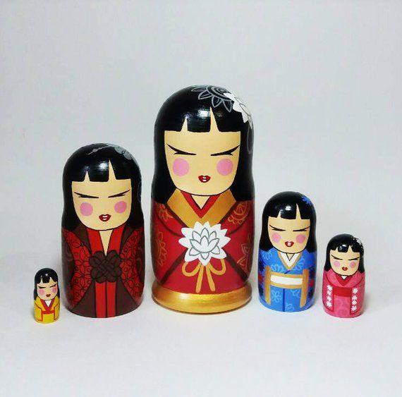 5 Pcs Russian Hand Painted Wooden Dolls Nesting Matryoshka 17cm Nice Gift