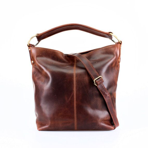 Distressed Brown Leather Handbag Hobo Tote by TheLeatherStore