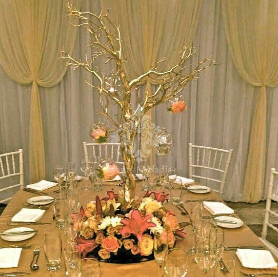 12 46 Gold Manzanita Wedding Centerpiece Branches by curatorgeorge