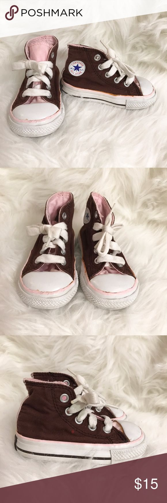 CONVERSE brown & pink high top sneaker shoes Super adorable baby girl brown & pink high top sneaker shoes. Used but still in good condition. Converse Shoes Sneakers
