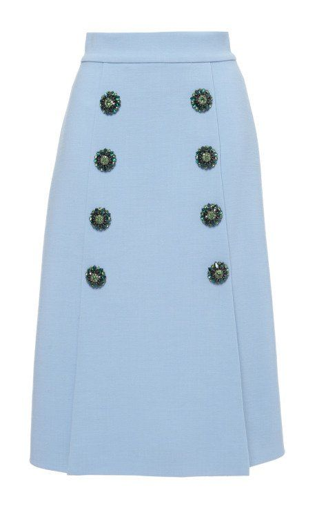 Double Crepe Jewel Button Front Skirt by Dolce & Gabbana for Preorder on Moda Operandi
