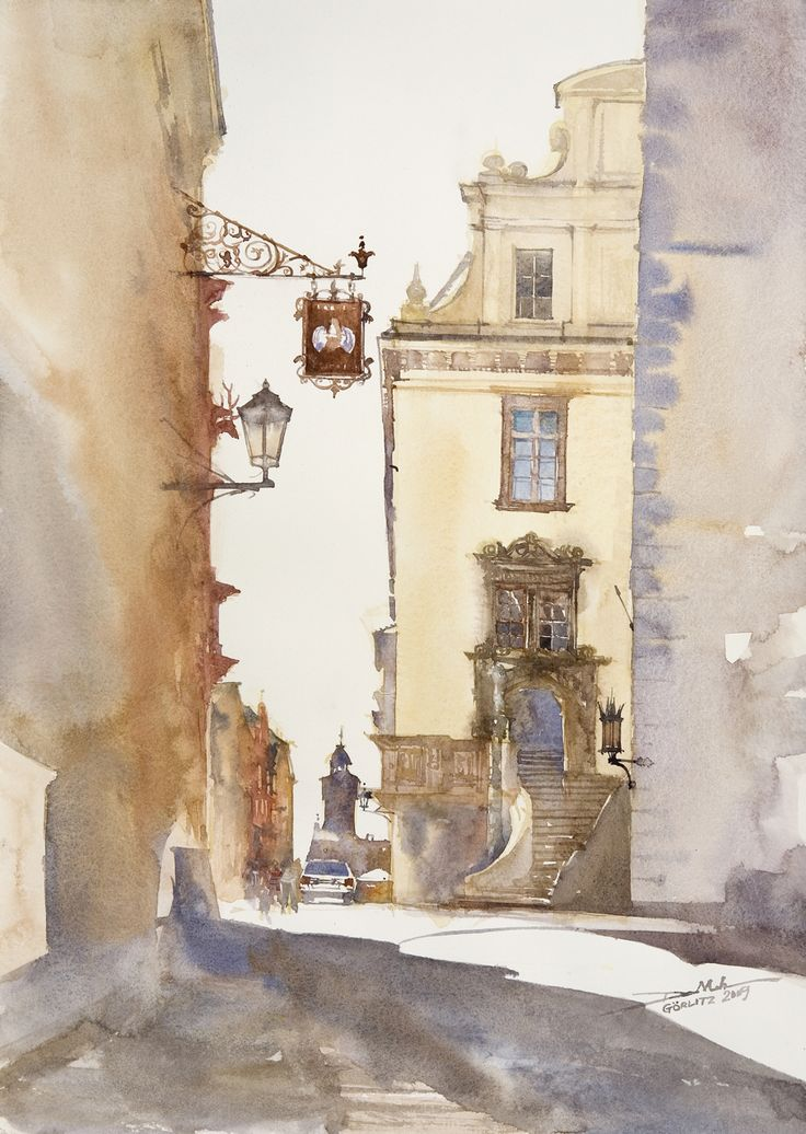 Gorlitz, 51x36cm, 2009 www.minhdam.com #architecture #watercolor #watercolour #art #artist #painting #gorlitz #germany