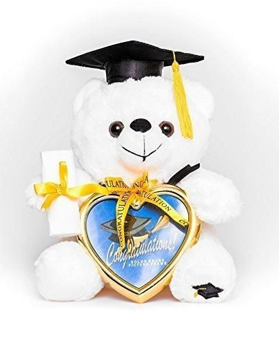 """8"""" Graduation Plush Teddy Bear with Cap and Diploma in Hand! Comes with a Heart Shaped Picture Frame! Made From High Quality Materials It Is the Perfect Commencement Gift!"""