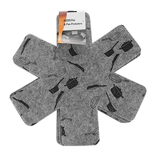 ASSIS Pot & Pan Protectors, Set of 6 15 Inches Gray Print Premium Divider Pads to Prevent Scratching, Separate and Protect Surfaces of Your Cookware - Cookware Accessories