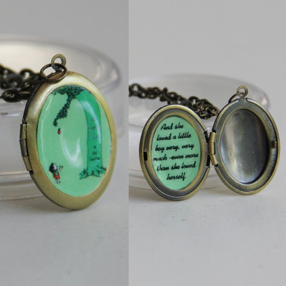 The Giving Tree with quote locket w/ chain by sparklelab on Etsy