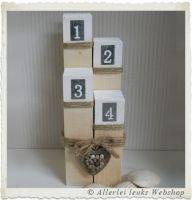 Houten decoratie strandpaaltjes naturel/wit 20-25-30-35cm (vierdelig)