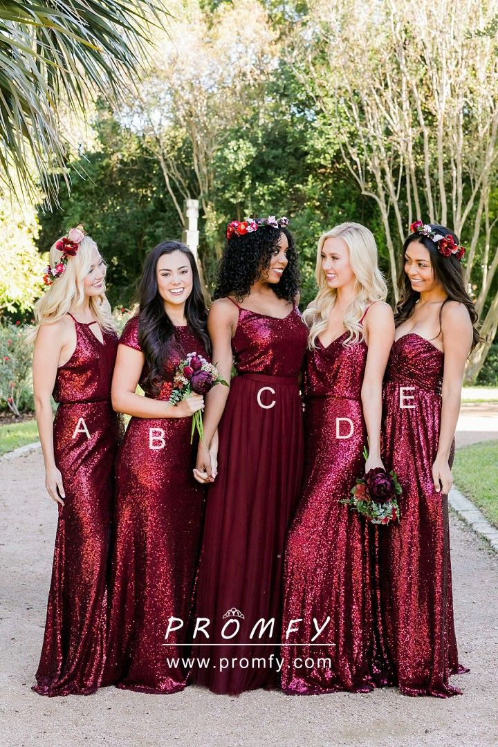 e088aca35f Beautiful   unique berry sequin long designer bridesmaid dresses. Many  styles available - strapless