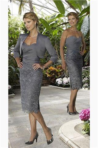 Sheath/Column Sweetheart Knee-length Taffeta Lace Mother of the Bride Dress