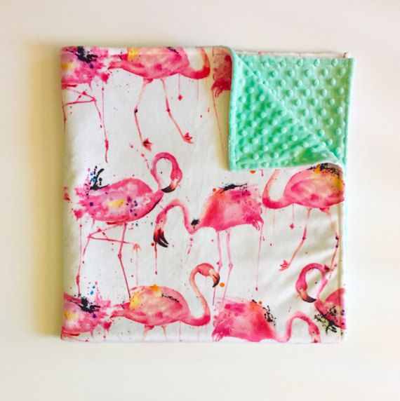 Flamingo minky baby blanket | tropical nursery | tropical baby shower | south beach | florida | hot pink coral peach aqua mint | by WilderAndBean