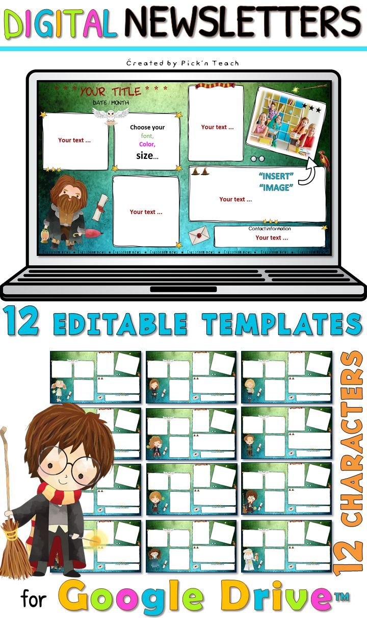 12 Classroom Newsletter Templates For Google Drive Harry Potter Fans Dark Classroom Newsletter Classroom Newsletter Template Picture Writing Prompts