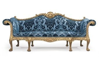 A George III giltwood sofa - designed by Robert Adam and made by Thomas Chippendale, 1765.