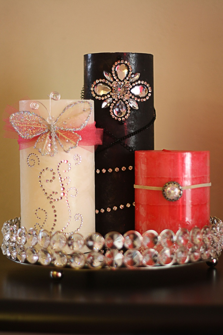 DIY Embellished candles This is something I could do!  Decorated candles for wedding favors might be a nice idea!