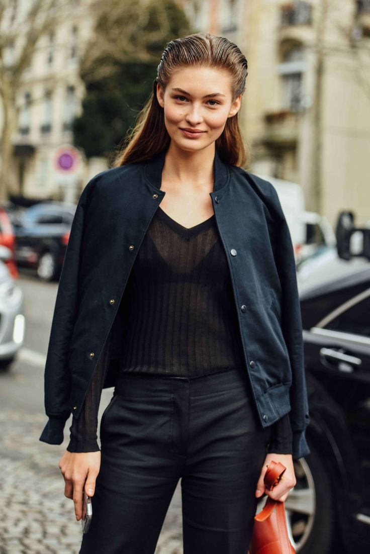 March 9, 2016  Tags Black, Paris, Navy, Sheer, Stripes, Women, Model Off Duty, Models, Bomber Jackets, Hair, Grace Elizabeth, 1 Person