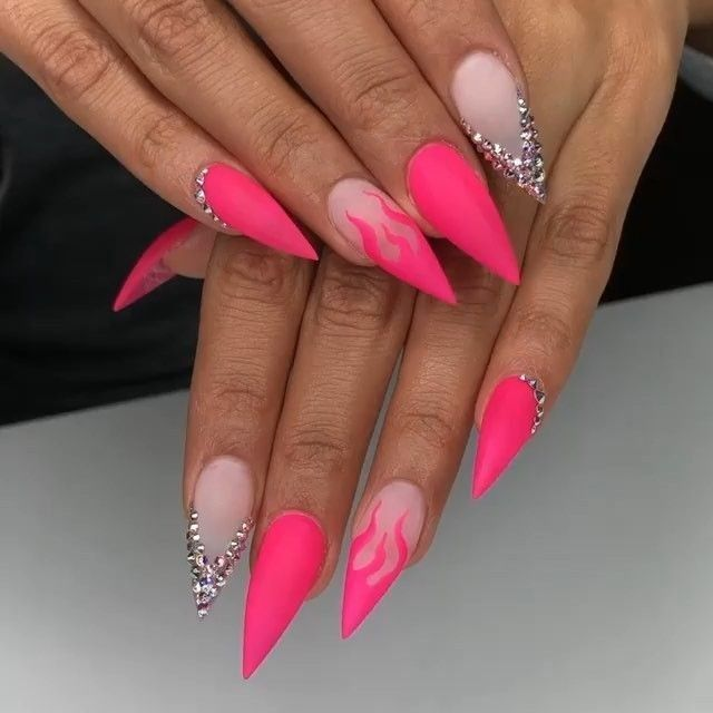 Long Stiletto Nails Ideas June 2020 In 2020 Pink Stiletto Nails Stilleto Nails Designs Pink Nails