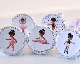 African American Ballerina Party Supplies, Pink Ballerina Stickers, Round Candy Label Party Favors, Ballet Party Favors, Fits Hershey's Kiss