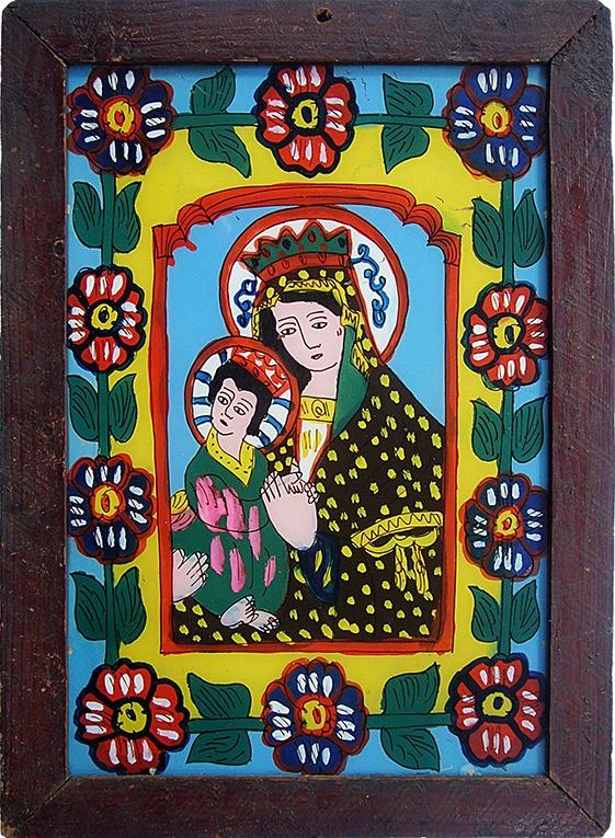 Maria mit Kind, Hinterglasikone,  Siebenbürgen, Rumänien, Grenzgebiet zu Ungarn? um 1900, Rahmen 32.5 x 45 cm Innen 25,5 x 38,5 cm