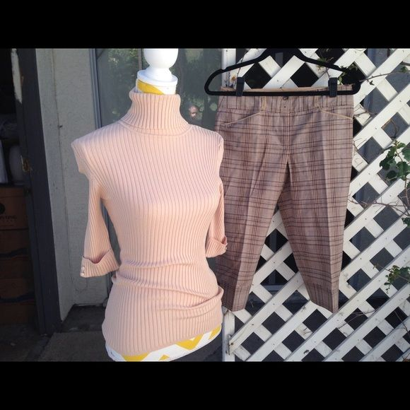 Bebe top and BCBG Capri pants. Bebe top in a size medium and brand new BCBG Capri pants in size 4. Cute outfit for work or going out. bebe Tops