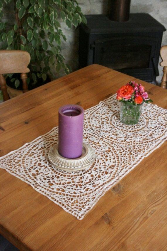 French Vintage RibbonWork Table Mat by Chezpetitpica on Etsy, €12.00