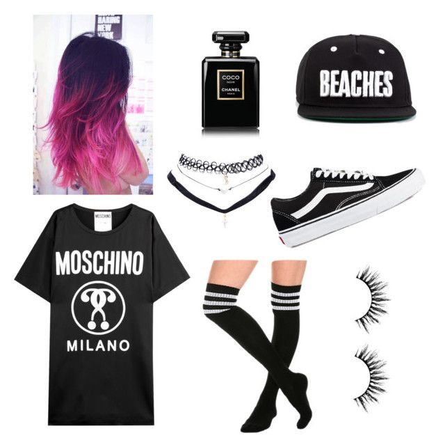Only black. by helena-saetervik-fredriksen on Polyvore featuring polyvore, fashion, style, Moschino, Vans, Wet Seal and Chanel
