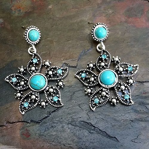 Tibetan Silver Turquoise and Blue Crystal Encrusted Flower Earrings
