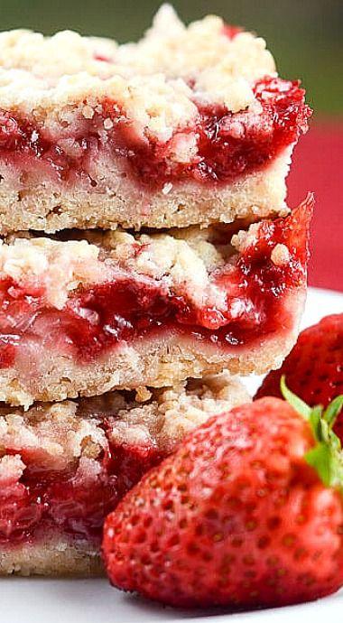 Strawberry Crumb Bars ❊