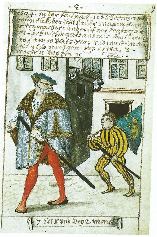 Copie au 18e siècle d'une page perdue du livre de Matthaus Schwarz. Il lui montre comme un garçon de 7 ans lors d'un séjour de 3 semaines en 1504 comme porte-drapeau à la cour - fou de l'empereur Maximilien , Kunz von der Rosen . Par son propre compte , il ne lui fit pas bon! Est-ce qu'il sifflait ou peut-être tirant la langue à l' imbécile luxueusement vêtu ? Pour bannière - voir Commentaire