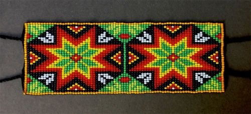 Huichol beaded bracelet:  The Eyes of God (Ojos de Dios)