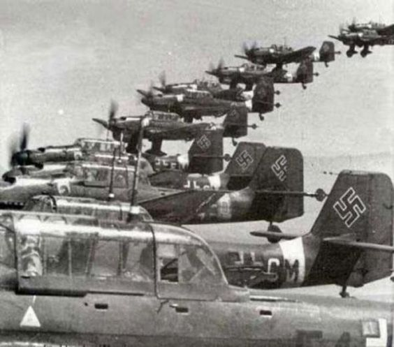 Formation of Junkers JU-87 Stukas: