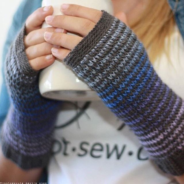 Rainy Sunday plans: ☕️ + ➰ (<let's petition Apple for an official yarn emoji, shall we?) Gorgeous, subtle shades in Chroma Fingering in Hollyhock (Pattern: Kaleidoscope Fingerless Mitts by Kim Miller on Ravelry) #knitpicks #crochet #mittens #yarn #chromayarn regram from @knotsewcute