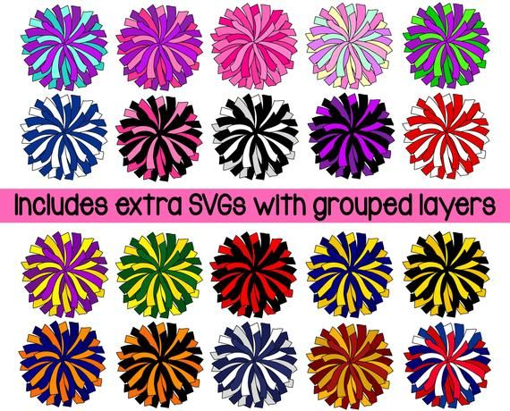 Pom Pom Svg Clipart Team Colors Pompom Svg Png Cheerleading Svg Cheer Pom Svg Cheerleading Clipart Personal And Commercial Use Cheer Pom Poms Cheerleading Crafts Digital Clip Art