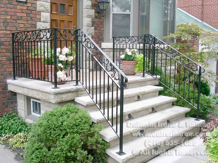 Exterior railings dufferin iron railings house - Wrought iron handrails for exterior stairs ...