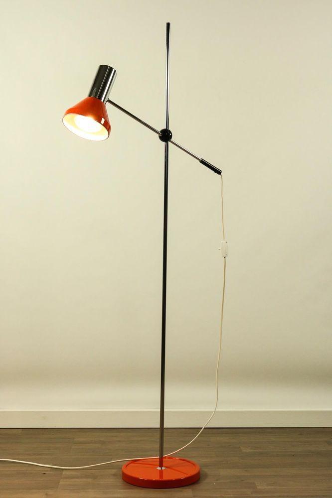 Gelenkarm Steh Leuchte Spot Strahler Boden Lampe Orange Chrom