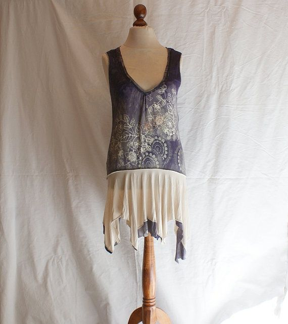 Sleeveless Purple Beige DressTunic Size M L Blouse by cutrag, $67.89