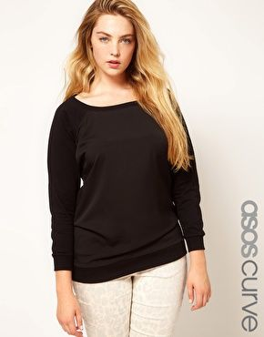 Enlarge ASOS CURVE Exclusive Woven Front Sweat