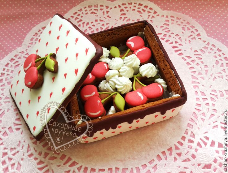 """Купить Пряничная шкатулка """"Вишня с шоколадом"""" - коралловый, пряничная шкатулка, пряник, пряники, пряник расписной"""
