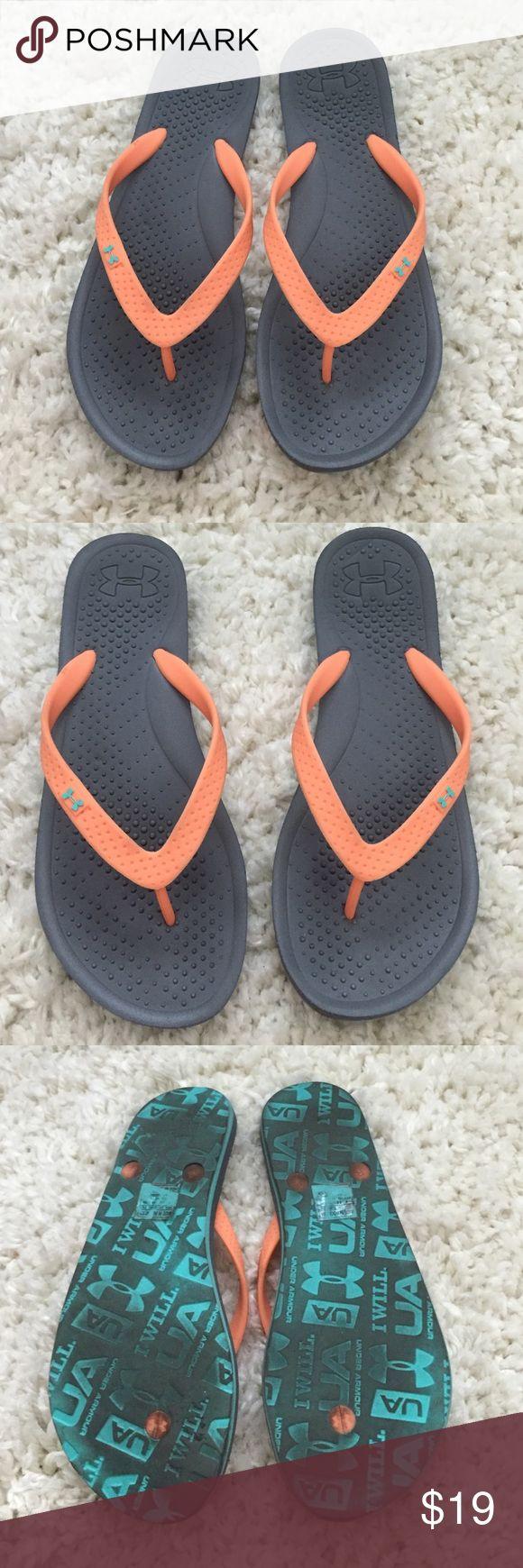 Under Armour Peach and Grey Flip Flops Under Armour peach and grey flip flops.  Only worn twice.  Cute contrast of peach and grey. Under Armour Shoes Sandals