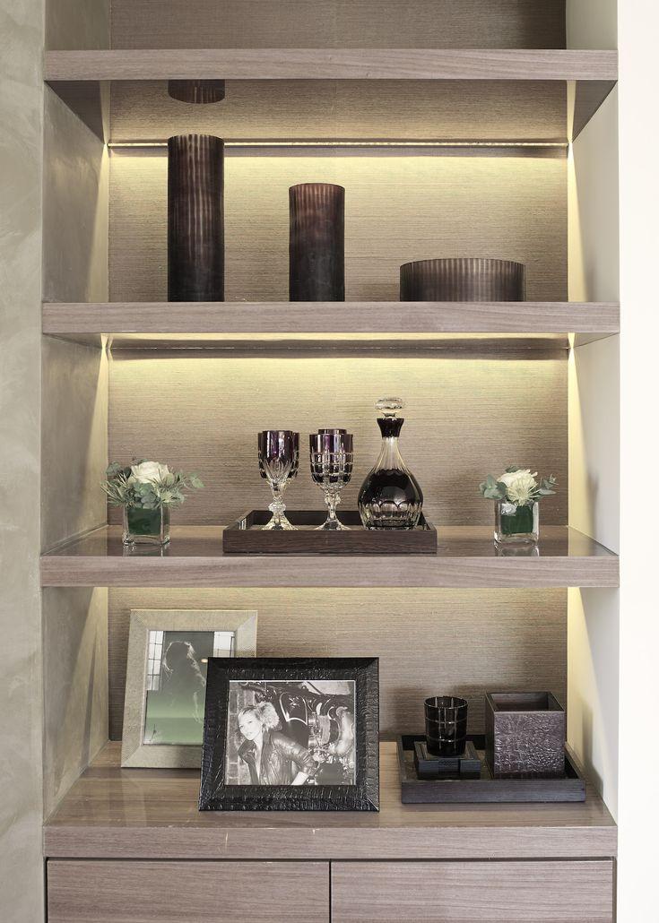 Recessed lighting in the shelf   Luxury home decor